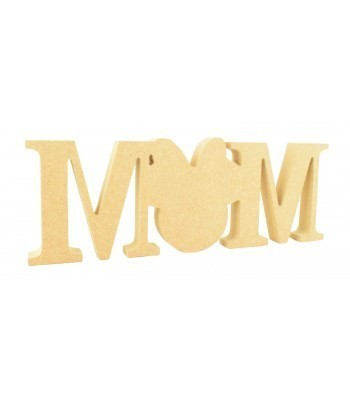 18mm Freestanding MDF ' Mum' Joined Word - Mouse Head with Bow replacing the 'U'