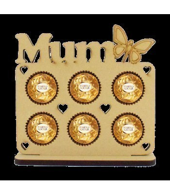 6mm 'Mum' with Butterfly Plaque Ferrero Rocher Holder on a Stand