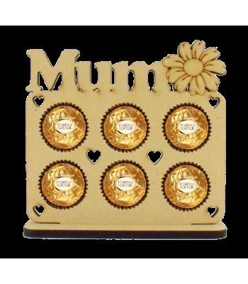 6mm 'Mum' with Flower Plaque Ferrero Rocher Holder on a Stand