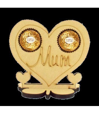 6mm Mum Heart Ferrero Rocher Holder on a Butterfly Stand