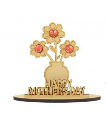 6mm Mothers Day Flowers in a Vase Shape Mini Lindt Egg Holder on a Stand - Stand Options