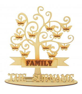 Laser Cut Engraved Family Tree on a stand with Personalised Butterflies