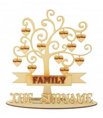 Laser Cut Engraved Family Tree on a stand with Personalised Hearts