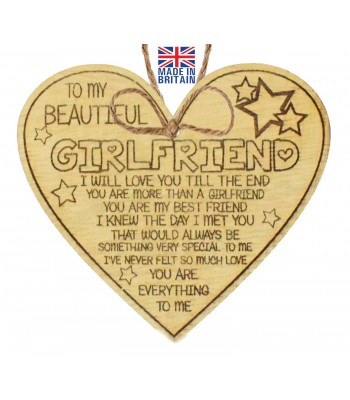 Laser Cut Oak Veneer 'To My Beautiful Girlfriend. I will love you till the end. You are more than a Girlfriend...' Engraved Mini Heart Plaque