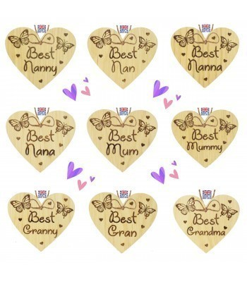 Laser Cut Personalised Oak Veneer 'Best...' Mothers Day Engraved Mini Heart Plaque with Butterflies