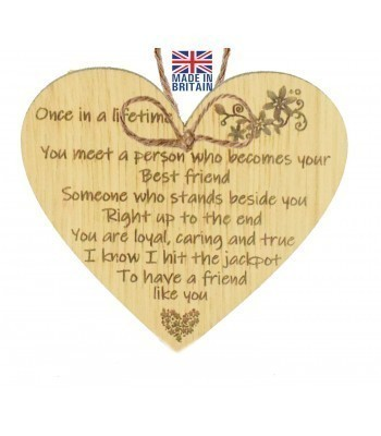 Laser Cut Oak Veneer 'Once in a lifetime you meet a person who becomes your Best Friend...' Engraved Mini Heart Plaque