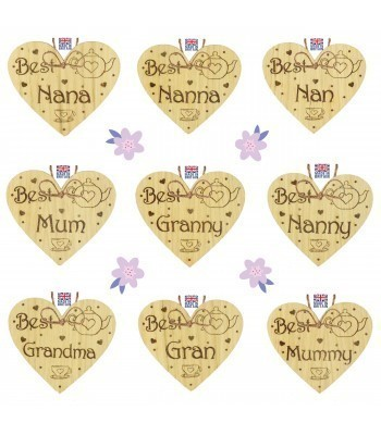 Laser Cut Personalised Oak Veneer 'Best...' Mothers Day Engraved Mini Heart Plaque with Teapot