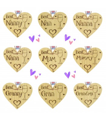 Laser Cut Personalised Oak Veneer 'Best...' Mothers Day Engraved Mini Heart Plaque with Wine Glass