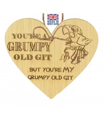 Laser Cut Oak Veneer 'You're A Grumpy Old Git. But You're My Grumpy Old Git' Engraved Mini Heart Plaque