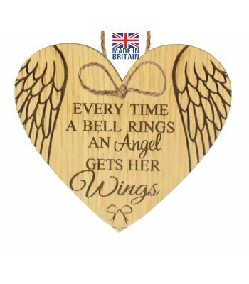 Laser Cut Oak Veneer 'Every Time A Bell Rings An Angel Gets Her Wings' Engraved Mini Heart Plaque