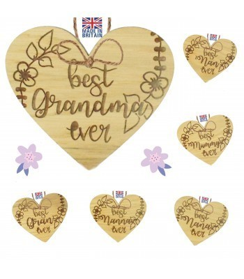 Laser Cut Personalised Oak Veneer 'best... ever' Engraved Mini Heart Plaque