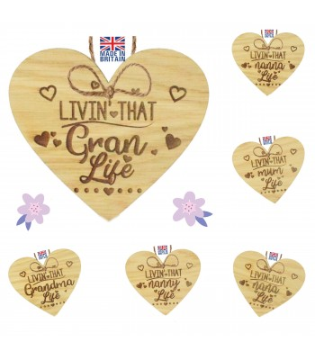Laser Cut Personalised Oak Veneer 'Livin' That... Life' Engraved Mini Heart Plaque