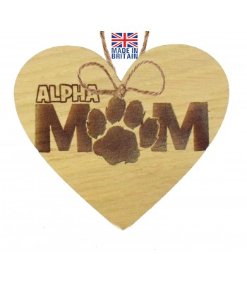 Laser Cut Oak Veneer 'Alpha Mum' Engraved Mini Heart Plaque