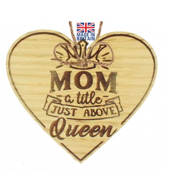 Laser Cut Oak Veneer 'Mom. a title just above Queen' Engraved Mini Heart Plaque
