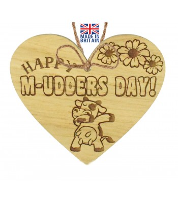 Laser Cut Oak Veneer 'Happy M-udders Day!' Engraved Mini Heart Plaque