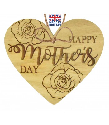 Laser Cut Oak Veneer 'Happy Mother's Day' Engraved Mini Heart Plaque with Roses