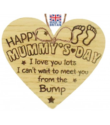 Laser Cut Oak Veneer 'Happy Mummy's Day. I love you lots. I can't wait to meet you. from the Bump' Engraved Mini Heart Plaque