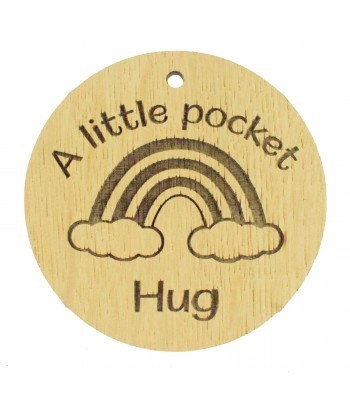 Laser Cut Oak Veneer 'A Little Pocket Hug' Engraved Mini Circle Plaque with Rainbow