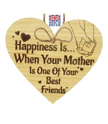 Laser Cut Oak Veneer 'Happiness Is... When Your Mother Is One Of Your Best Friends' Engraved Mini Heart Plaque