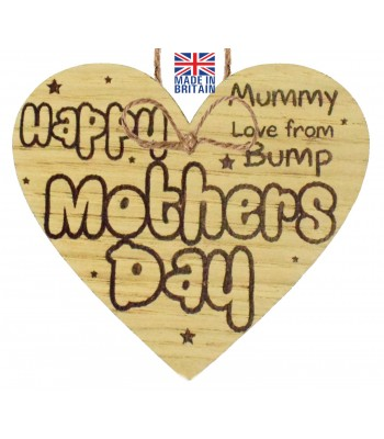 Laser Cut Oak Veneer 'Happy Mothers Day Mummy. Love from Bump' Engraved Mini Heart Plaque