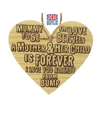 Laser Cut Oak Veneer 'Mummy to be. The love between a Mother & her child is forever...' Engraved Mini Heart Plaque