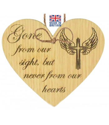 Laser Cut Oak Veneer 'Gone from our sight but never from our hearts' Engraved Mini Heart Plaque