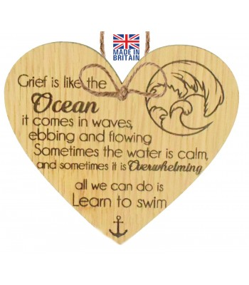 Laser Cut Oak Veneer 'Grief is like the Ocean. it comes in waves ebbing and flowing...' Engraved Mini Heart Plaque