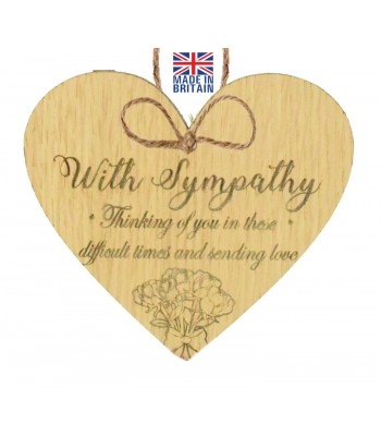 Laser Cut Oak Veneer 'With Sympathy. Thinking of you in these difficult times and sending love' Engraved Mini Heart Plaque