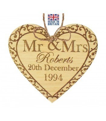 Laser Cut Personalised Oak Veneer 'Mr & Mrs...' Engraved Mini Heart Plaque