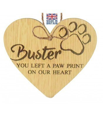 Laser Cut Personalised Oak Veneer 'You left a paw print on our heart' Engraved Mini Heart Plaque