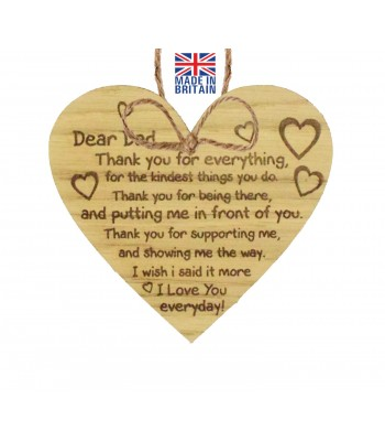 Laser Cut Oak Veneer 'Dear Dad, Thank you for everything, for the kindest things you do. Thank you for being there...' Engraved Mini Heart Plaque