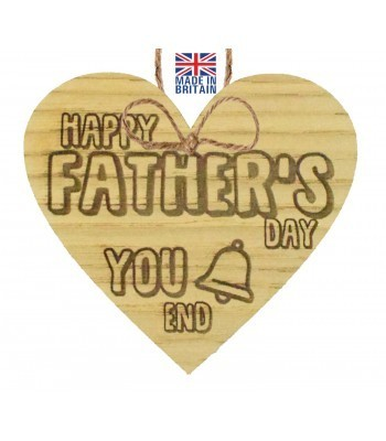 Laser Cut Oak Veneer 'Happy Father's Day You Bell End' Engraved Mini Heart Plaque