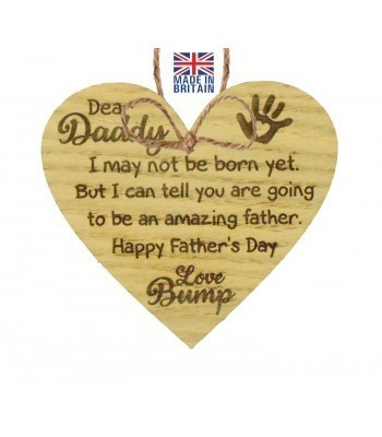 Laser Cut Oak Veneer 'Dear Daddy. I may not be born yet. But I can tell you are going to be an amazing father...' Engraved Mini Heart Plaque