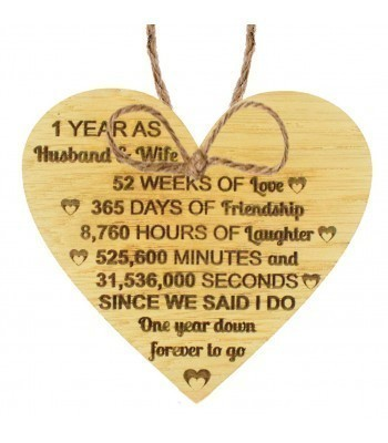 Laser Cut Oak Veneer '1 Year as Husband & Wife' Engraved Mini Heart Plaque