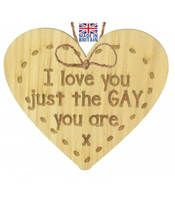 Laser Cut Oak Veneer 'I love you just the Gay you are x' Engraved Mini Heart Plaque