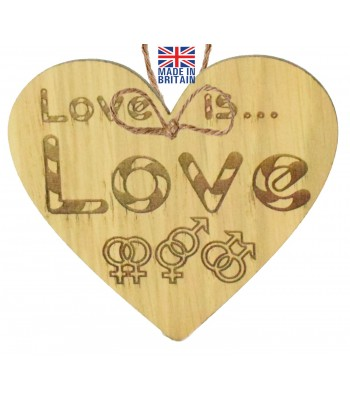 Laser Cut Oak Veneer 'Love is... Love' Engraved Mini Heart Plaque with Relationship Symbols