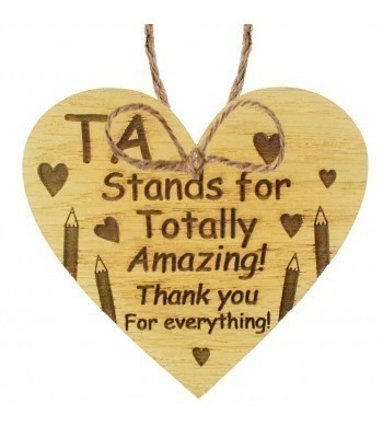 Laser Cut Oak Veneer 'TA Stands for Totally Amazing! Thank you for everything' Engraved Mini Heart Plaque