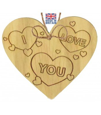 Laser Cut Oak Veneer ' I Love You' Engraved Mini Heart Plaque with Hearts