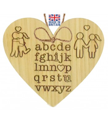 Laser Cut Oak Veneer 'abcde...I Love U' Engraved Mini Heart Plaque