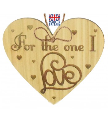 Laser Cut Oak Veneer 'For the one I love' Engraved Mini Heart Plaque
