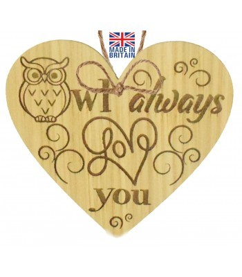 Laser Cut Oak Veneer 'Owl always Love you' Engraved Mini Heart Plaque