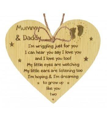 Laser Cut Oak Veneer 'Mummy & Daddy I'm wriggling' Engraved Mini Heart Plaque