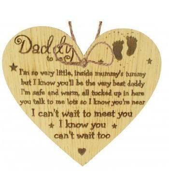 Laser Cut Oak Veneer 'Daddy to be' Engraved Mini Heart Plaque