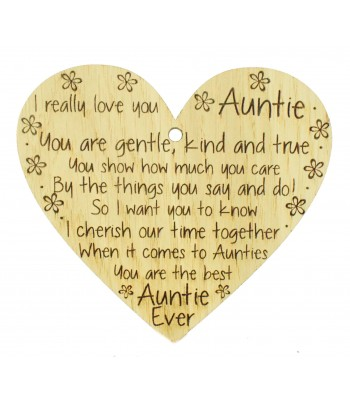 Laser Cut Oak Veneer 'I really love you Auntie. You are gentle kind and true...' Engraved Mini Heart Plaque