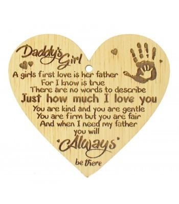 Laser Cut Oak Veneer 'Daddy's Girl. A girls first love is her father...' Engraved Mini Heart Plaque