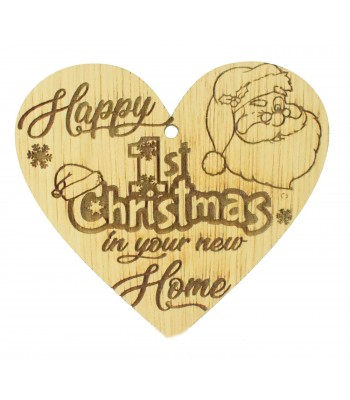 Laser Cut Oak Veneer 'Happy 1st Christmas in your new Home' Engraved Mini Heart Plaque