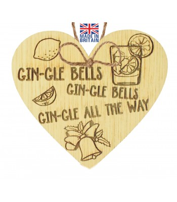 Laser Cut Oak Veneer 'Gin-gle Bells Gin-gle Bells Gin-gle All The Way' Engraved Mini Heart Plaque