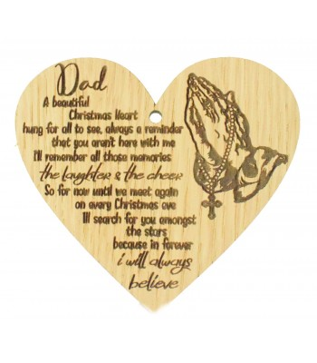 Laser Cut Oak Veneer 'Dad. A Beautiful Christmas Heart hung for all to see...' Engraved Mini Heart Plaque