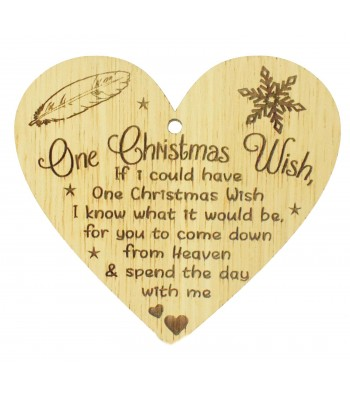 Laser Cut Oak Veneer 'One Christmas Wish. If I could have One Christmas Wish...' Engraved Mini Heart Plaque