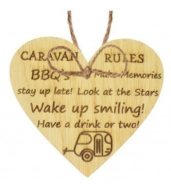 Laser Cut Oak Veneer 'Caravan Rules' Engraved Mini Heart Plaque